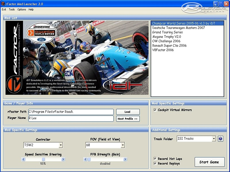 rFactor Mod Launcher 2 by Roger D Lee | rFactor Addons
